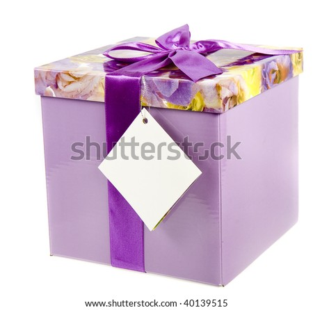 gift box with lilac bow isolated on a white background