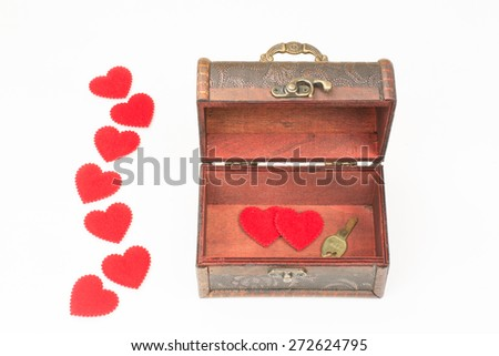 gift box with lots of cute little heart inside on white  background. - stock photo