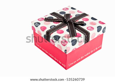 Gift box with love text isolated on white