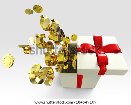 Gift box with money. - stock photo