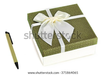 Gift Box with pen on white background - stock photo
