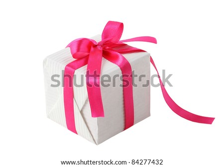 gift box with pink ribbon - stock photo