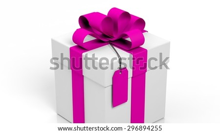 Gift box with pink ribbon and blank tag isolated on white  - stock photo