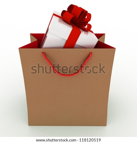 Gift box with red bow in bag for gift on white background - stock photo