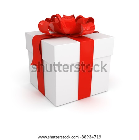 gift box with red bow isolated on white background - stock photo