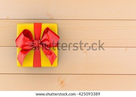 Gift box with red bow on wood background 3d rendering - stock photo