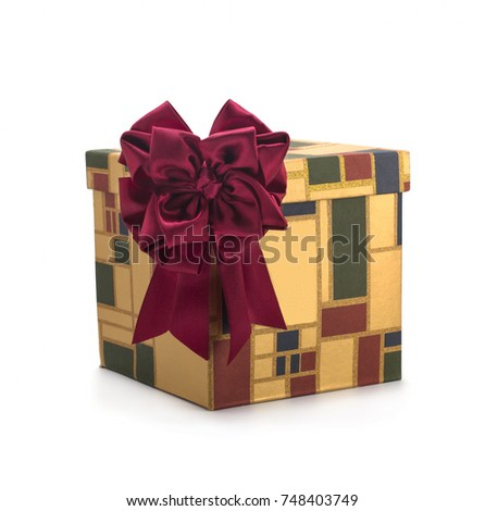 Gift box with red bows on a white background