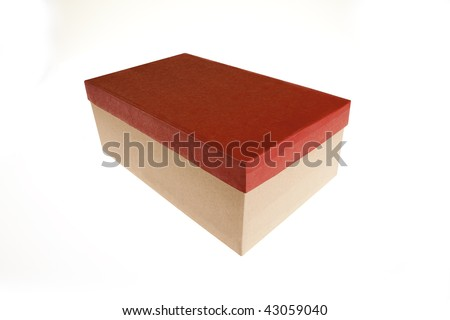 Gift box with red cover isolated on white