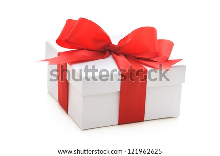 Gift box with red ribbon and bow on white background - stock photo