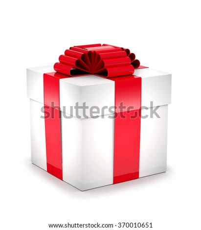Gift box with red ribbon and bow on white background. - stock photo