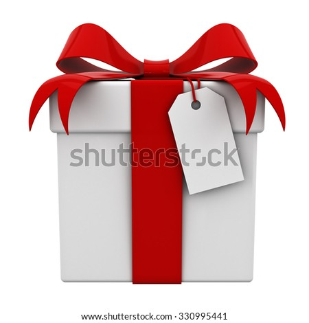 Gift box with red ribbon bow and blank tag isolated on white background - stock photo
