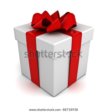 Gift box with red ribbon bow isolated on white background - stock photo