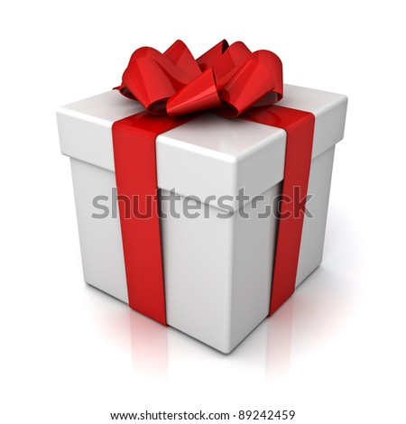 Gift box with red ribbon bow isolated on white background with reflection