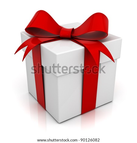 Gift box with red ribbon bow isolated on white background with reflection - stock photo