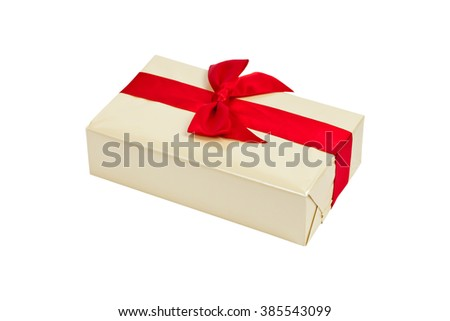 Gift box with red ribbon bow, isolated on white. Selective focus. - stock photo