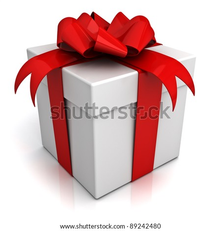 Gift box with red ribbon bow on white background with reflection