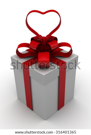 Gift box with red ribbon in the form of heart on a white surface. Isolated