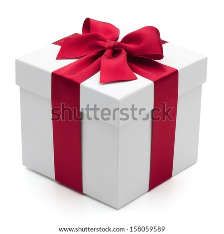 Gift box with red ribbon, isolated on the white background, clipping path included. - stock photo