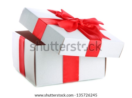 gift box with red ribbon, isolated on white - stock photo