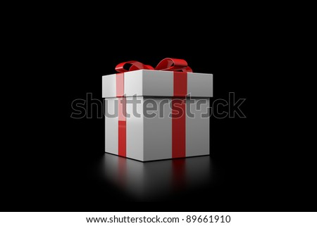 Gift box with red ribbon on a black background - stock photo