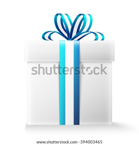 Gift box with ribbon and bow.  - stock photo
