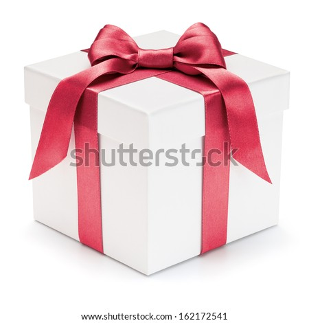 Gift box with ribbon and bow isolated on the white background, clipping path included.