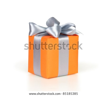 gift box with ribbon and bow isolated on white - stock photo