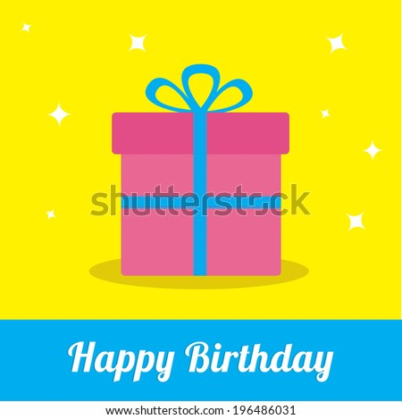 Gift box with ribbon and bow with sparkles. Happy Birthday card.   - stock photo