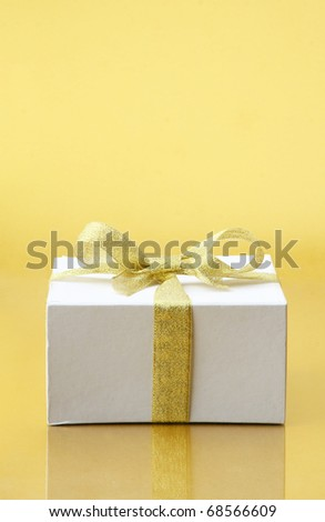 gift box with ribbon bow - stock photo