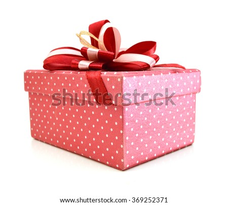Gift box with ribbon isolated on white background  - stock photo