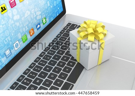 Gift box with ribbon on laptop keyboard. 3d rendering. - stock photo