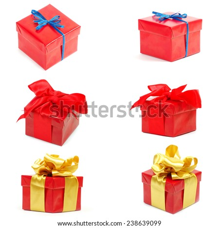 gift box with ribbon on white background - stock photo
