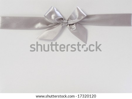 gift box with silver ribbon - stock photo