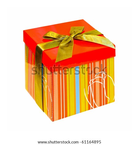 Gift box with straps isolated included clipping path - stock photo
