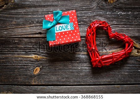 gift box with the inscription love - stock photo