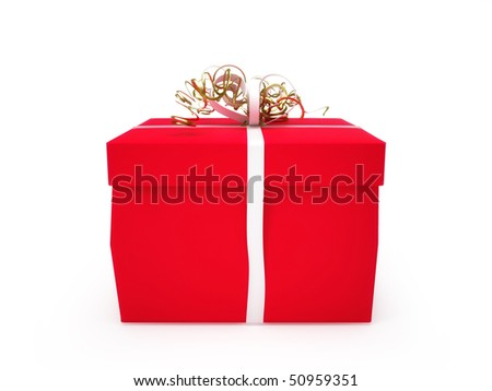 Gift box with white ribbon isolated on white