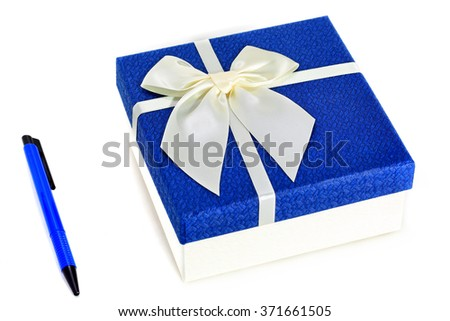 Gift Box with White Ribbon on white background - stock photo