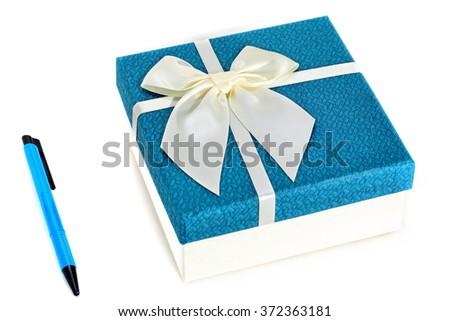 Gift Box with White Ribbon on white background - stock photo