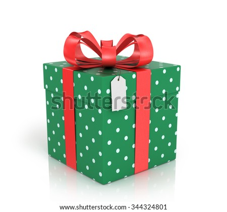 Gift box wrapped with red ribbon with a red bow on a white background.