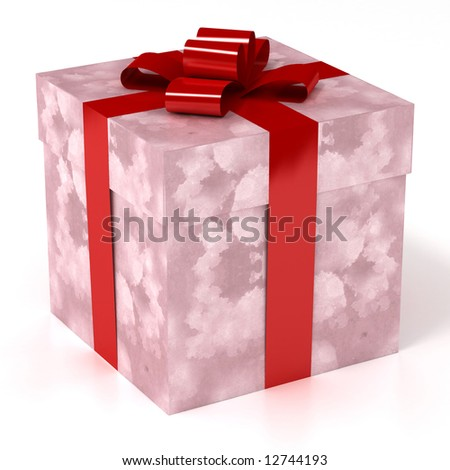 Gift box wrapped with red ribbons - stock photo