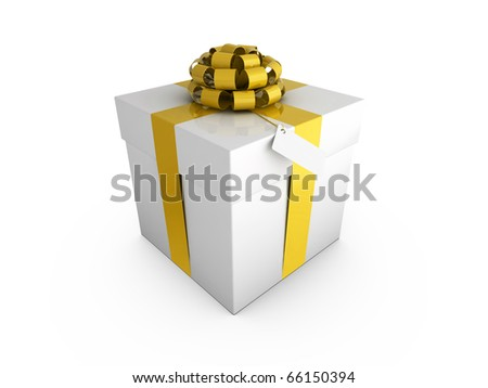 Gift box wrapped with ribbon and a bow, with a blank tag