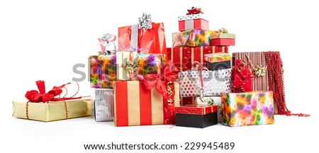Gift boxes and christmas bags,Isolated on white.  - stock photo
