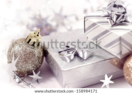 Gift boxes and christmas ball