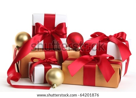 Gift boxes and christmas balls,Isolated on white. - stock photo