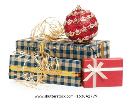 Gift boxes and Christmas toy ball isolated on white background