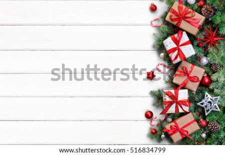 Gift Boxes And Fir Branches On White Table - Christmas Card
