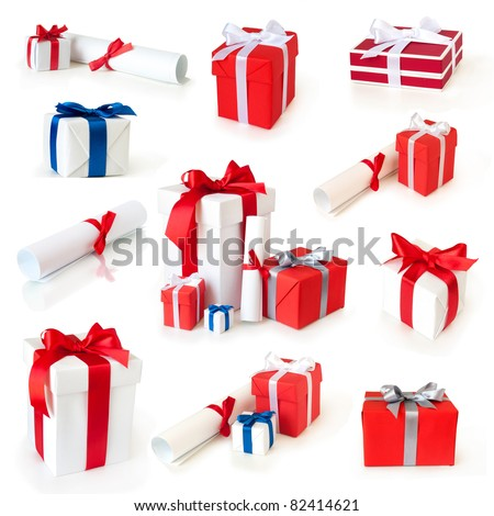 gift boxes and rolls with ribbons collection isolated on white - stock photo