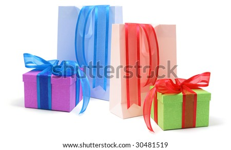 Gift Boxes and Shopping Bags on Isolated White Background - stock photo