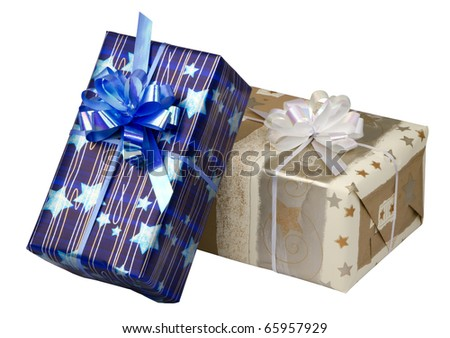 gift boxes  at Christmas or New Year, isolated on white background.