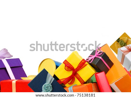 Gift boxes background - stock photo